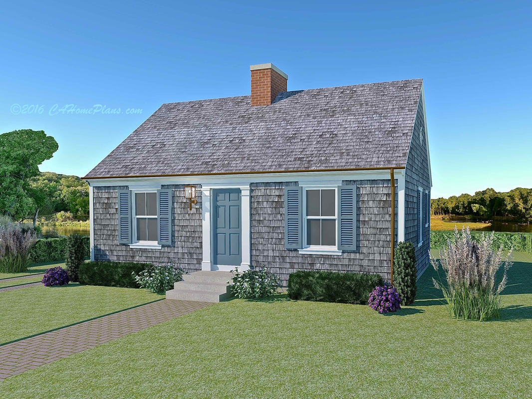 Tiny Cape Cod Colonial Revival Traditional Style House Plan - Colonial cape cod style house plans